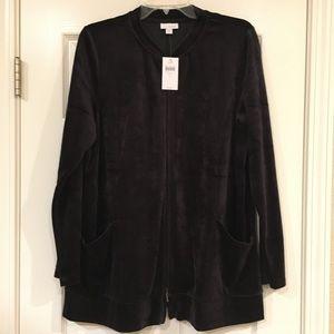 JJill velour jacket size large; NWT